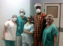 With medical staff