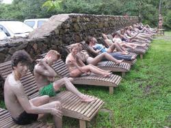 Volunteers covered in mud