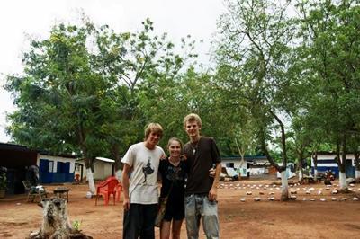 With volunteers in Kwamoso