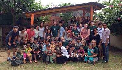 Volunteers at the placement in Cambodia