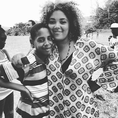 Volunteer with her student in Jamaica