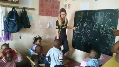 Eloise teaching a class during her Care placement