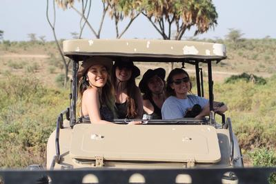 Emilee on a safari with the other volunteers
