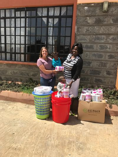 Emilee with the products she donated to the care centre