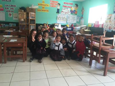 With a kindergarden class in Peru