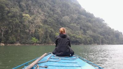 Faye takes a trip on a boat
