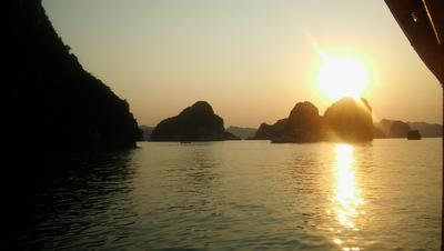 A view of the sun setting in Vietnam