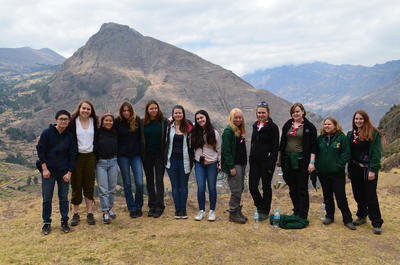 A group of volunteers exploring the Peruvian landscape