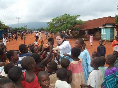 Meeting the kids in the village