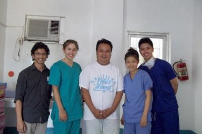 A group of medical volunteers at a hospital in Bogo City