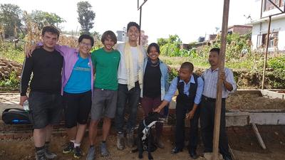 Volunteers and local staff at our Building placement in Nepal