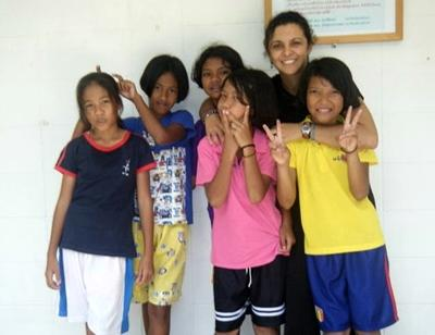 With local kids