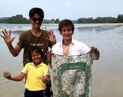 Beach clean up in Thailand