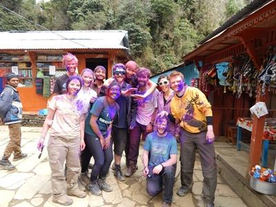 Socialising with volunteers in Nepal