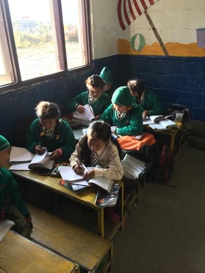 Students working during their class