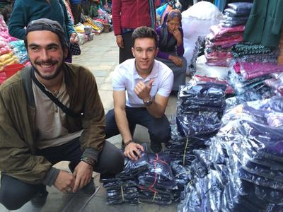 Volunteers at a market in Nepal