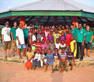 With the children at the orphanage