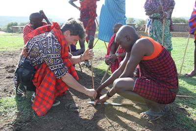Jake learning from the Maasai in Kenya