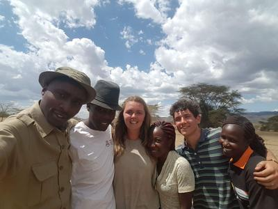 Conservation volunteer with the staff and guides