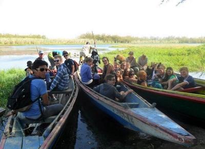 Volunteer's on a boat trip in Senegal