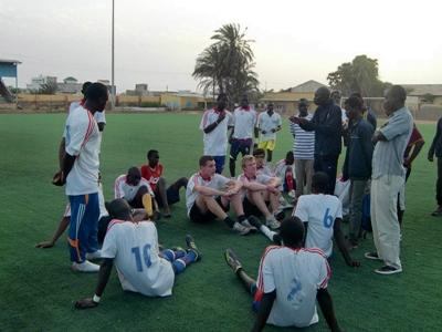 Volunteers ready to play football in Senegal