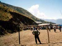 Fiesta football match on high andes mountain road