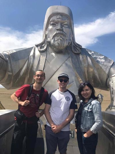 The volunteers at the Chinggis Khan statue