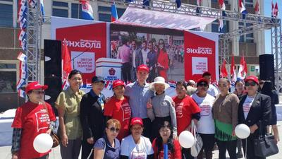 John and the NGO staff at a campaign day in Mongolia