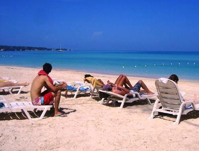 Relaxing on Negril beach