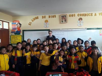 Joseph teaching local students in Peru