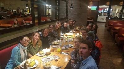Volunteers enjoying dinner together