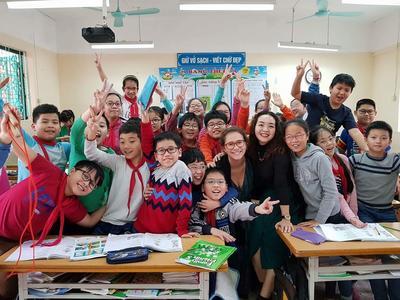 Josie with her students in Vietnam