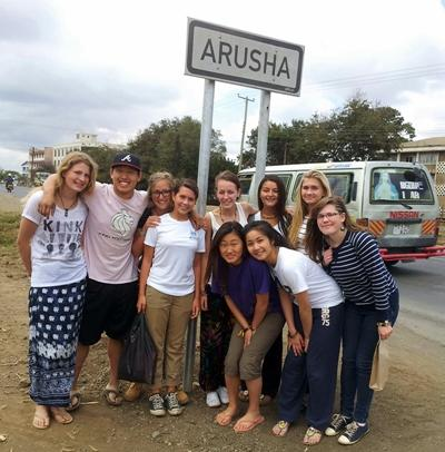 With other volunteers in Arusha