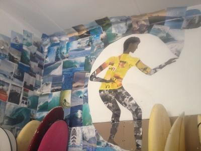 Surfing mural inside the surfing project centre