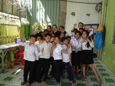 Judith with her students in Cambodia
