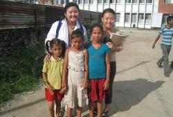 With Nepalese family
