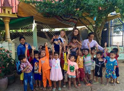Volunteers with the kids at a the Khemara Organisation