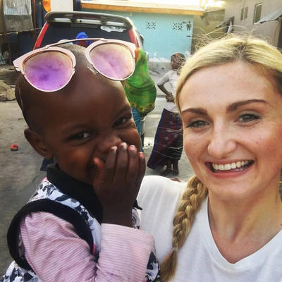 Katherine spending time with a child at her Nursing Elective placement