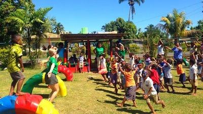 Volunteers run a Zumba class for local Fijian children