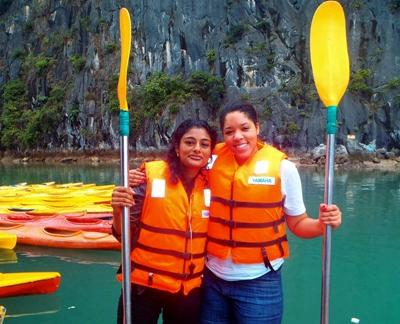 Volunteers on a kayaking trip in Vietnam