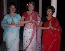 Wearing our traditional sarees