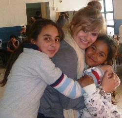 Hugging the children
