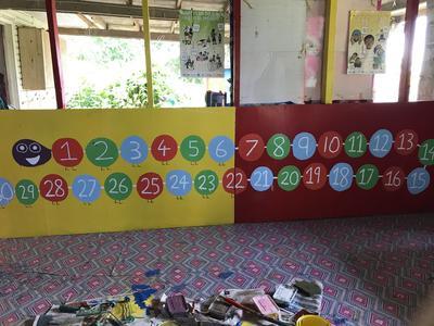 An educational mural painted by volunteers in Fiji