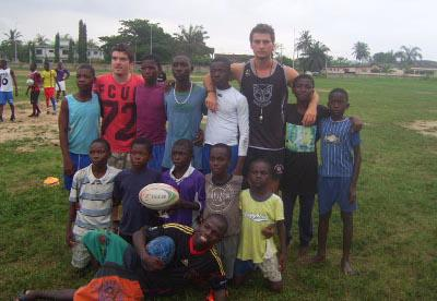 With rugby team