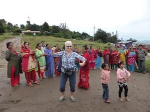 Linda dancing with the locals at Nagakot