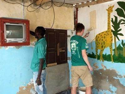 Painting a classroom in Senegal