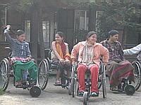 Patients in wheelchairs