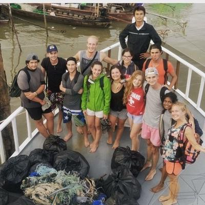 Volunteers after a beach clean-up in Thailand