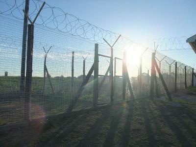 Fences at refugee camp