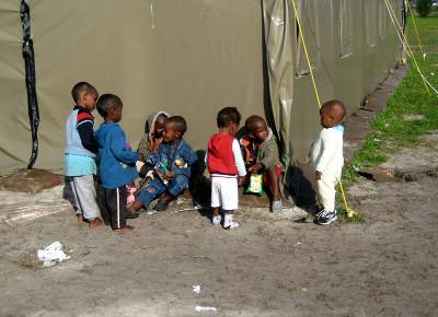 Children at one of the refugee camps